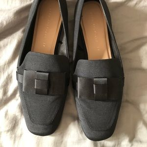 ZARA black loafers with bow